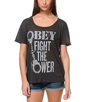 Obey Girls Fights Back Charcoal Throwback Tee Shirt