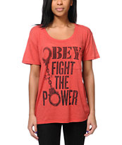 Obey Girls Fights Back Red Throwback Tee Shirt