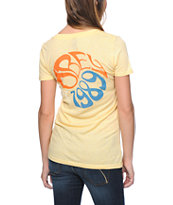 Obey Girls Filmore Yellow V-Neck Tee Shirt