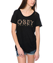 Obey Girls Floral Worldwide Black Beau Tee Shirt