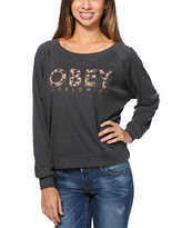 Obey Girls Floral Worldwide Charcoal Raglan Top