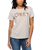 Obey Girls Floral Worldwide Grey Back Alley Tee Shirt