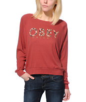 Obey Girls Floral Worldwide Red Raglan Top