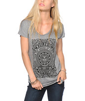 Obey Girls Front The Ground Up Mock Twist Grey Tee Shirt