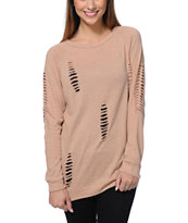 Obey Girls Jezebel Clay Crew Neck Sweatshirt