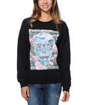Obey Girls L'Amour Eternal Black Throwback Crew Neck Sweatshirt