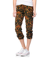 Obey Girls Lola Brown Blotch Camo Sweatpants