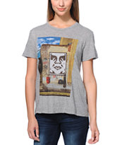 Obey Girls London Icon Photo Grey Back Alley Tee Shirt