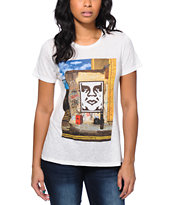 Obey Girls London Icon Photo Natural Back Alley Tee Shirt