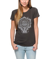 Obey Girls Lotus Woman Black Tri-Blend Tee Shirt