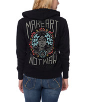 Obey Girls Make Art Not War Black Zip Up Hoodie