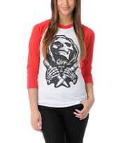 Obey Girls Masters Of War Red Baseball Tee Shirt
