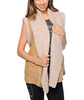 Obey Girls Mojave Tan Faux Suede Vest