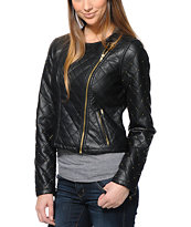 Obey Girls Neon Night Black Faux Leather Motorcycle Jacket