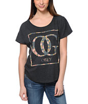 Obey Girls OG Floral Black Dolman Tee Shirt