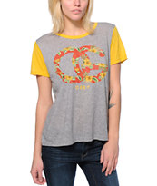 Obey Girls OG Island Grey & Yellow Yesterday Tee Shirt