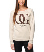 Obey Girls OG Leopard Heather Stone Crew Neck Sweatshirt