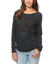 Obey Girls OG Leopard Onyx Black Vandal Crew Neck Sweatshirt