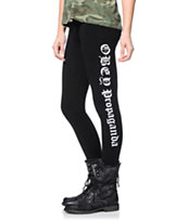 Obey Girls Old English Black Printed Leggings