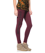 Obey Girls Old English Burgundy Printed Leggings
