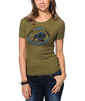 Obey Girls Panther Militia Olive Green Runaway Tee Shirt