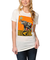 Obey Girls Peace Elephant Ivory White Tee Shirt