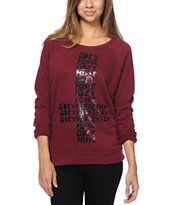 Obey Girls Possessed Burgundy Vandal Crew Neck Sweatshirt