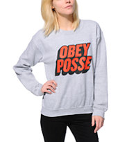 Obey Girls Posted Grey Throwback Crew Neck Sweatshirt