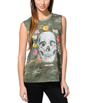 Obey Girls Reincarnation Camo Moto Cut Off Tank Top