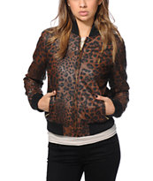 Obey Girls Riot Squad Leopard Print Faux Leather Jacket
