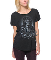 Obey Girls Rocker Black Dolman Tee Shirt