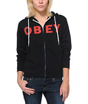 Obey Girls Rocket To Nowhere Black Zip Up Hoodie