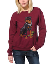 Obey Girls Rot Maroon Throwback Crew Neck Sweatshirt