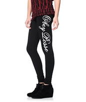 Obey Girls Script Black Printed Leggings