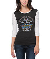 Obey Girls Searching To Desrtoy Black & White Banshee Tee Shirt