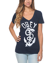 Obey Girls Serpent & Anchor Navy V-Neck Tee Shirt