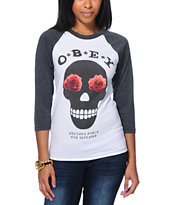 Obey Girls Sinners White & Charcoal Baseball Tee Shirt