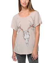 Obey Girls Taos Embroidery Natural White Modern Dolman Tee Shirt