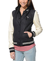 Obey Girls The Varsity Charcoal & Cream Hooded Varsity Jacket