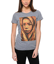 Obey Girls Uganda Children Heather Grey Tri-Blend Tee Shirt