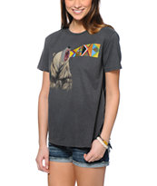Obey Girls Unquenchable Thirst Charcoal Vintage Tee Shirt