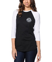 Obey Girls Wolf Patch Black & White Baseball Tee Shirt