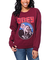 Obey Girls Wolfen Burgundy Throwback Crew Neck Sweatshirt