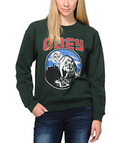 Obey Girls Wolfen Green Throwback Crew Neck Sweatshirt