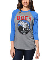 Obey Girls Wolfen Grey & Blue Vintage Baseball Tee Shirt