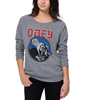 Obey Girls Wolfen Grey Vandal Crew Neck Sweatshirt