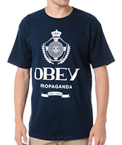 Obey Guys Nada Navy Blue Tee Shirt