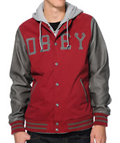Obey Homefield Burgundy & Grey Varsity Hooded Jacket