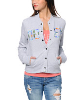 Obey Huston Grey Fleece Varsity Jacket