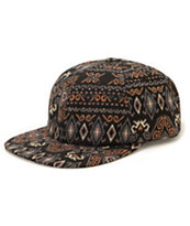 Obey India Throwback Black Tribal Print Strapback Hat